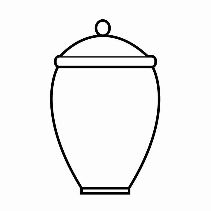 Skisse av urne fra Jølstad begravelsesbyrå